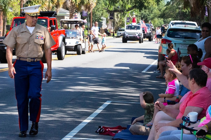 Col. Timothy Miller walks during the 64th annual Beaufort Water Festival Grand Parade in downtown Beaufort, July 20. Miller is the commanding officer of Marine Corps Air Station Beaufort.