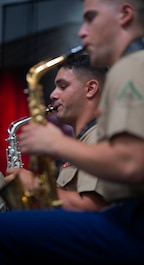 Members of the Parris Island Marine Corps Island Band perform during the opening ceremony of the Beaufort Water Festival, July 12. The Parris Island Marine Band's primary mission is to provide musical support for recruit graduations and other military ceremonies and events.