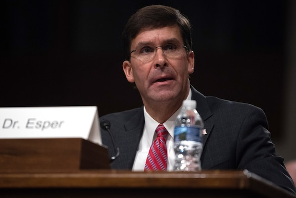 U.S. Secretary of the Army Dr. Mark T. Esper answers questions from members of the Senate Armed Services Committee during his confirmation hearing at the Dirksen Senate Office Building, Washington, D.C., July 16. Esper was nominated for Secretary of Defense by President Donald J. Trump July 15.