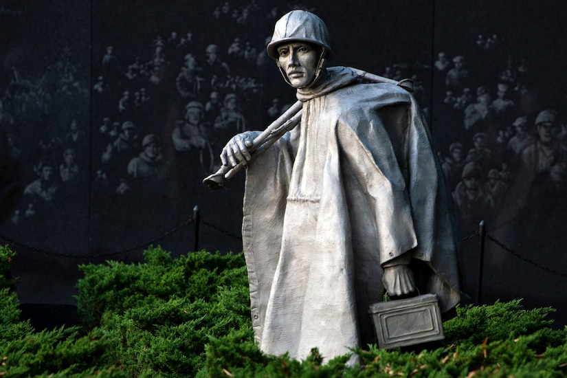 Statue of a soldier that is part of the Korean War Memorial