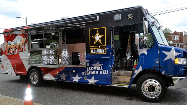 A new food truck purchased by the Defense Logistics Agency Troop Support for the Army's Joint Center of Culinary Excellence stopped at the DLA headquarters in Philadelphia