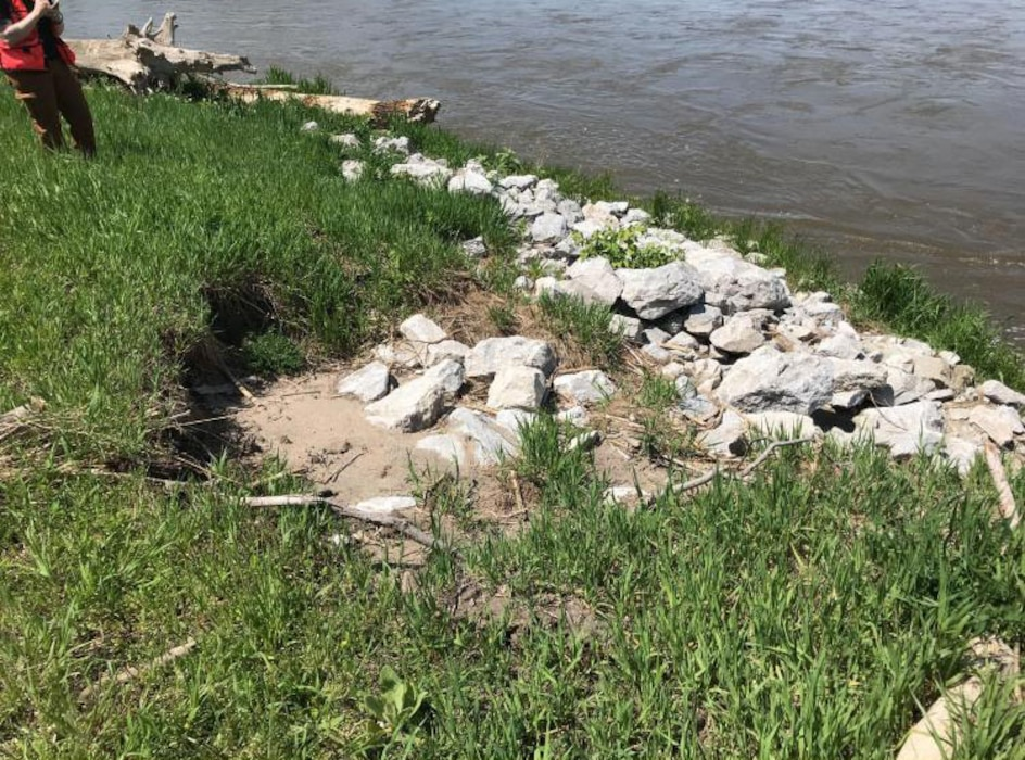 Erosion and scour along the riverside channel bank extending into the levee section at Cedar Creek levee May 16, 2019.
