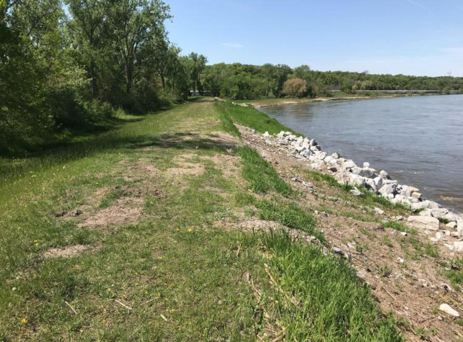 Minor damage to the levee crest due to high water overtopping the Cedar Creek levee May 16, 2019.