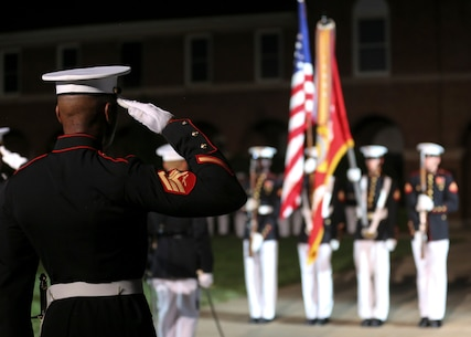 """Medal of Honor recipient and retired CWO4 Hershel """"Woody"""" Williams was the guest of honor for the evening and Lt. Gen. Charles G. Chiarotti, deputy commandant, Installations and Logistics, was the hosting official."""