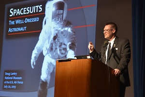 DAYTON, Ohio -- Presentation: Spacesuits – The Well-Dressed Astronaut by Dr. Doug Lantry, National Museum of the U.S. Air Force Historian, at the 50th Anniversary of the Apollo 11 Moon Landing Family Day event at the National Museum of the U.S. Air Force on July 20, 2019. (U.S. Air Force photo by Ken LaRock)