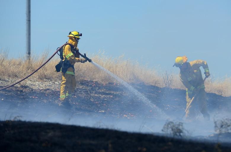 9th Civil Engineer Squadron fire department extinguish fire