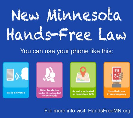 New Minnesota law goes into effect Aug. 1, 2019. The law will require all Minnesota drivers to use cell phones hands-free. (Courtesy graphic)