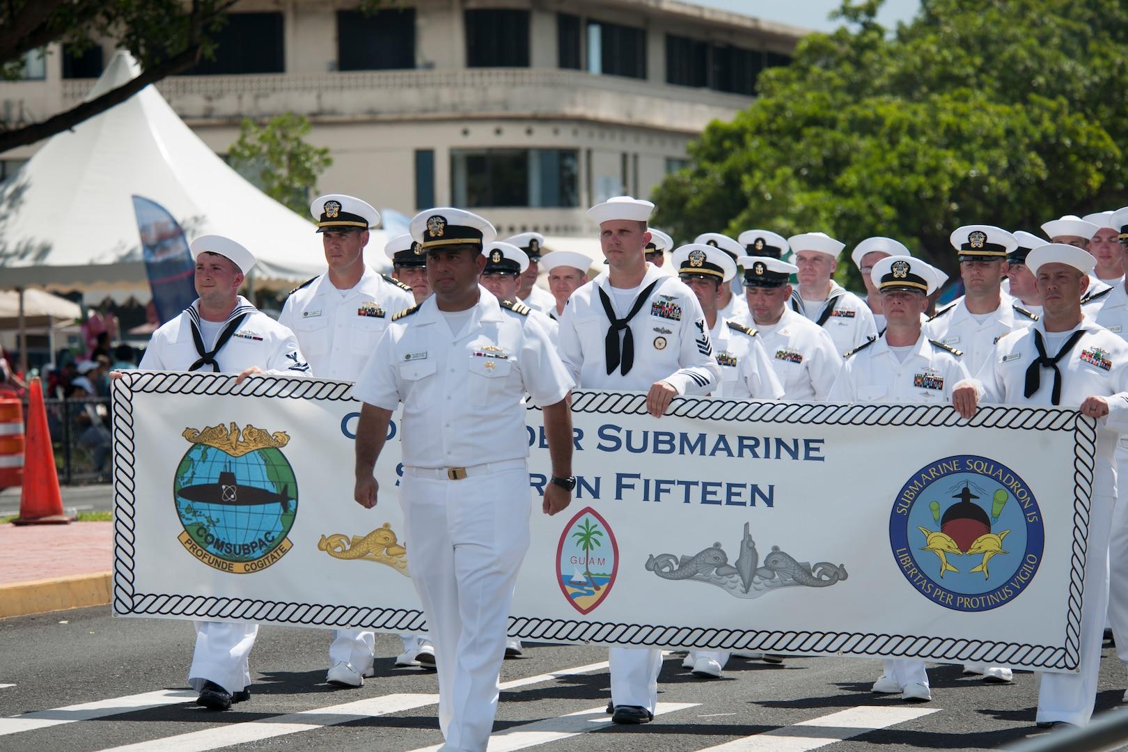 Sailors, Guam Celebrate 75th Liberation Day