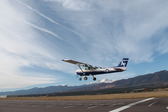 The U.S. Air Force Academy will hold a Public Release Open House to share the results of the Air Installations Compatible Use Zones study at the Pikes Peak Library District East Library, Wednesday, July 24, 2019, from 5 p.m. to 8 p.m. Pictured here, a USAFA T-51 performs a precision landing at the Academy's airfield (Courtesy Photo).