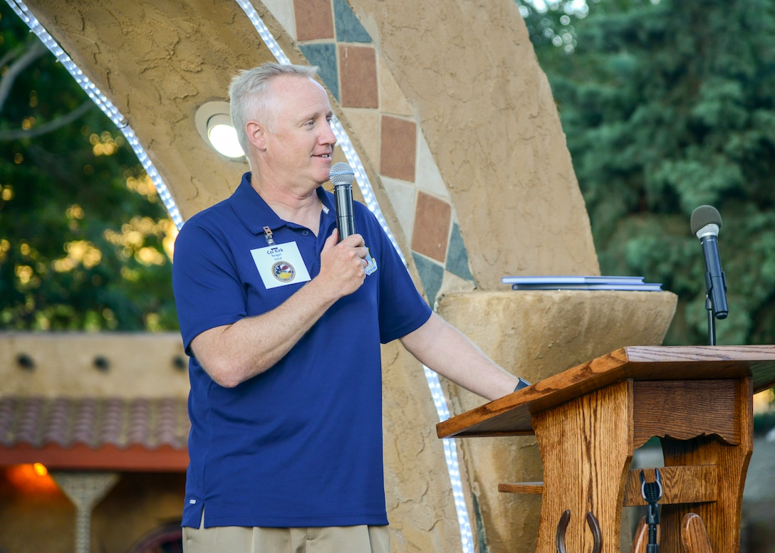 Col. Kirk Reagan, 412th Test Wing Vice Commander, addresses members of the Edwards Air Force Base Civilian-Military Support Group during their annual BBQ dinner at the Hacienda Lane Ranch in Palmdale, Calif., July 18. (U.S. Air Force photo by Giancarlo Casem)