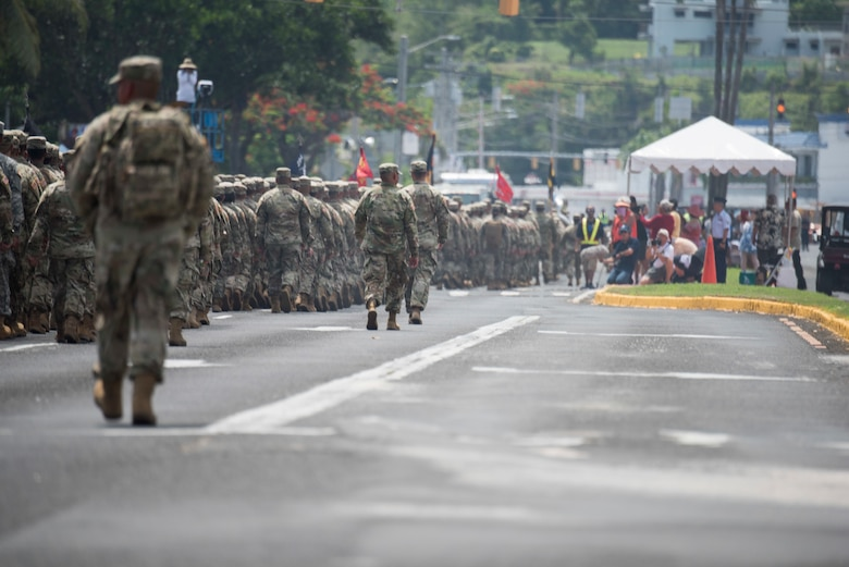 Members of multiple U.S. military branches participate in the 75th Annual Liberation Day parade July 21, 2019, in Hagatna, Guam.
