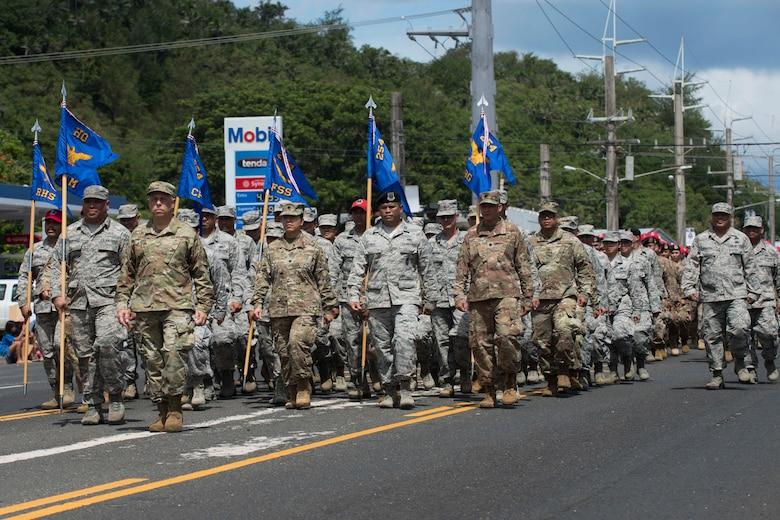 Team Andersen Airmen participate in the 75th Annual Guam Liberation Day Parade July 21, 2019 in Hagatna, Guam.