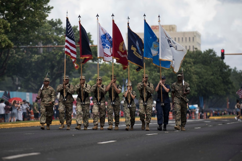 The joint honor guard participate in the 75th Annual Guam Liberation Day Parade July 21, 2019 in Hagatna, Guam.
