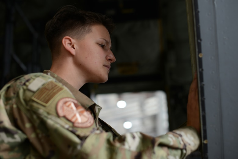 U.S. Air Force Airman 1st Class Jenna Bowen, 86th Aircraft Maintenance Squadron assistant flying crew chief, inspects a C-130J Super Hercules on Ramstein Air Base, Germany, July 18, 2019.