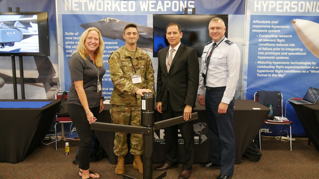 Shelley Rich, Capt. Joshua Lee, Alex Gracia, and Col. Garry Haase, all of AFRL's Munitions Directorate at Eglin AFB, Florida, spoke about networked weapons during Dayton Defense's Wright Dialogue With Industry, July 16-18 at the Dayton Convention Center. A suite of new technologies will give new generation weapons the ability to penetrate, operate and prosecute targets in complex, area-denied environments. (Courtesy photo)
