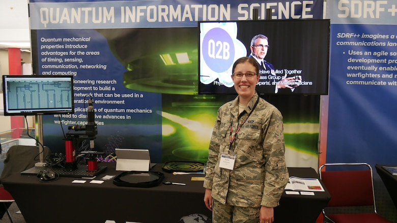 1st Lt. Kaitlin Poole, of AFRL's Information Directorate at Rome, New York spoke about Quantum Information Science during Dayton Defense's Wright Dialogue With Industry, July 16-18 at the Dayton Convention Center. AFRL is pioneering research and development to build a quantum network that can be used in a future operational environment. (Courtesy photo)