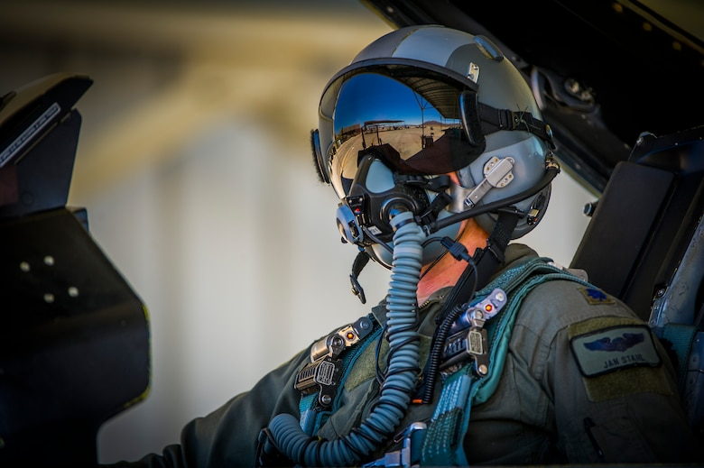 Lt. Col. Jan Stahl, 706th Fighter Squadron commander, conducts pre-flight checks inside an F-16 fighting falcon July 16, 2019, at Nellis Air Force Base, Nev. Red Flag focuses on the application of core missions to include Command and Control, Intelligence Surveillance, Strike and Personnel Recovery and how to work with Coalition counterparts to ensure success. The 706th Fighter Squadron oversees Air Force Reserve Command members assigned to the U.S. Air Force Warfare Center, supporting missions in its 57th Wing, 53rd Wing and 505th Command and Control Wing. Pilots assigned to the 706 FS fly an array of aircraft to include the F-15C, F-15E, F-16, F-22 and F-35 aircraft. To prepare combat air forces, joint and allied crews with realistic training, pilots in the 706 FS operate with the 64th Aggressor Squadron to facilitate operational threat replication, training, and feedback. The Red Flag exercise will continue through July 26, 2019.