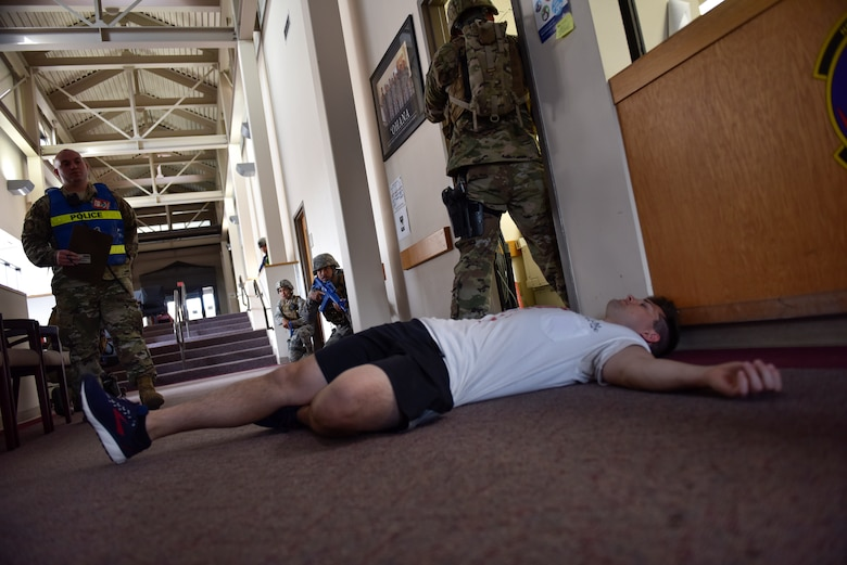 Laughlin personnel participated in an active shooter training at Laughlin Air Force Base, Texas, July 22, 2019. The exercise, aimed at bolstering crisis readiness and response capabilities, simulated a hostage situation that lasted for nearly two hours. (U.S. Air Force photo by Staff Sgt. Benjamin N. Valmoja)