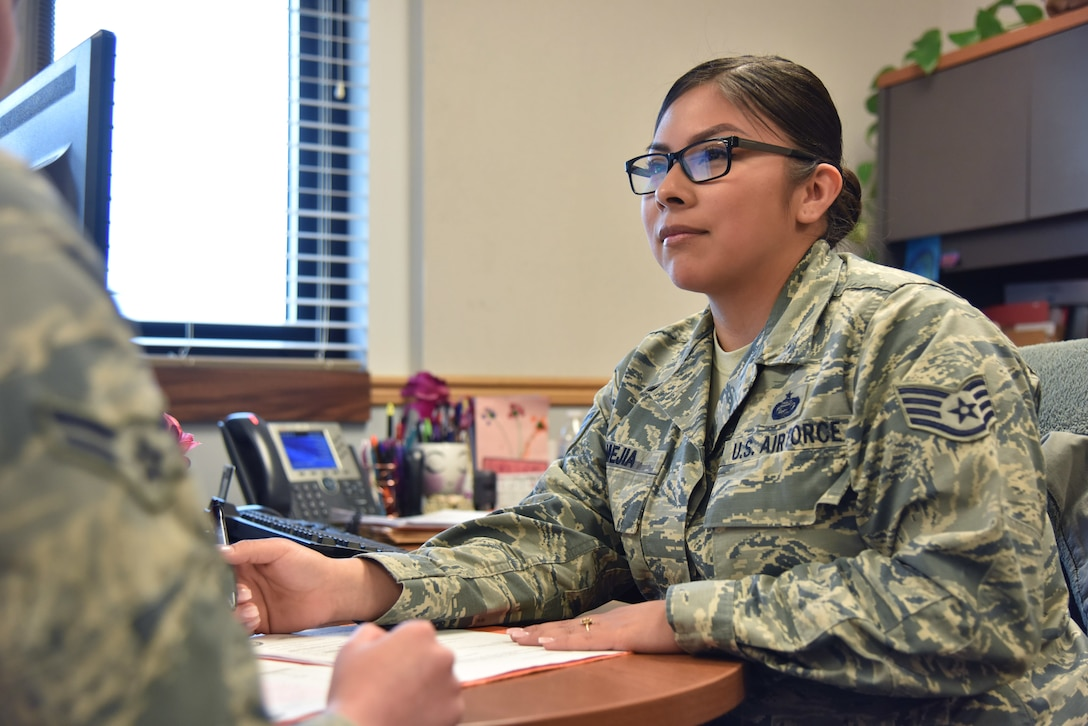 Mejia's section assists outbound Airmen with a smooth transition of household goods, prepare housing requirements and more.