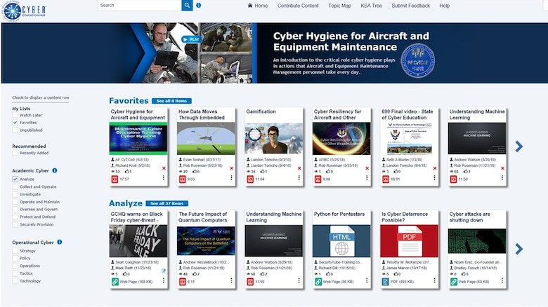 Created as a research project, Air Force Institute of Technology graduate students developed an educational hub with a layout similar to Netflix or YouTube. The cloud based education hub has the familiarity of the two making it easier for a user to navigate. The hub offers videos on a vast array of topics to view. (Courtesy graphic)