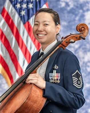Official photo of Master Sgt. Christine Lightner, cellist with The Air Force Strings, one of six ensembles in The United States Air Force Band, Joint Base Anacostia-Bolling, Washington, D.C.