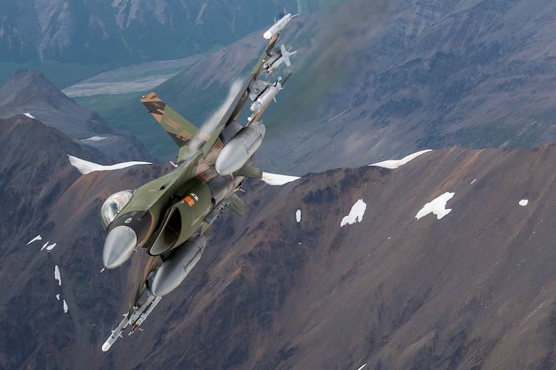 A U.S. Air Force F-16 Fighting Falcon from Eielson Air Force Base, flies in formation over the Joint Pacific Alaska Range Complex, July 18, 2019.