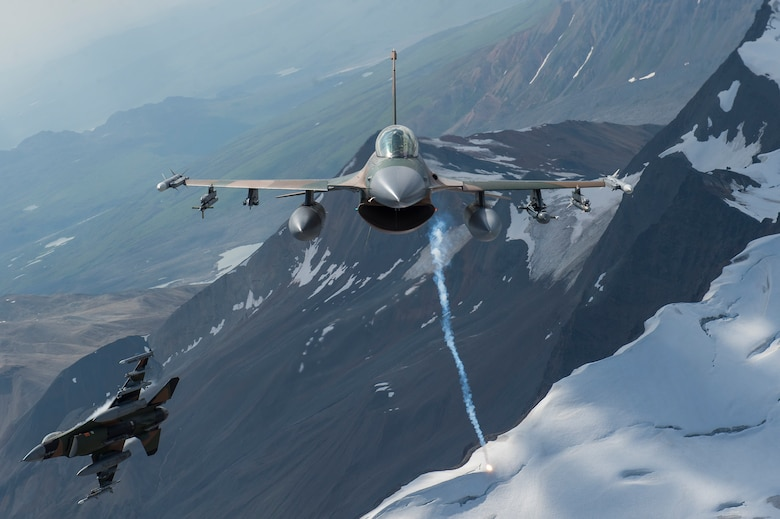 U.S. Air Force F-16 Fighting Falcons from Eielson Air Force Base, fly in formation over the Joint Pacific Alaska Range Complex, July 18, 2019.