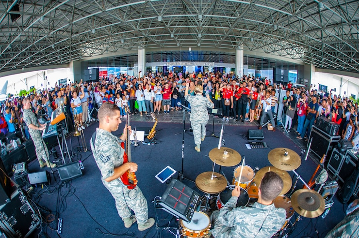 Hana Hou performs for visitors at the Langkawi Interntaional Maritime & Aerospace Exhibition in Malaysia.