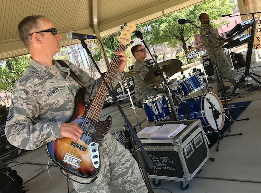 The rhythm section from Galaxy, the pop and country music ensemble of the U.S. Air Force Band of the Golden West, perform July 4, 2019, at Paradise, California. More than 150 men, women, children and U.S. military veterans attended the celebration. (U.S. Air Force photo by Tech. Sgt. John Marsh)