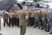 Maj. Gen. Bradley S. James speaks to the Sailors of Helicopter Mine Countermeasures Squadron (HM) 14 Korea detachment during his visit to Pohang. James spoke of the importance of the ROK-U.S. Alliance and the role the Sailors played in strengthening it. (U.S. Marine Corps photo by SSgt. Mel Johnson)