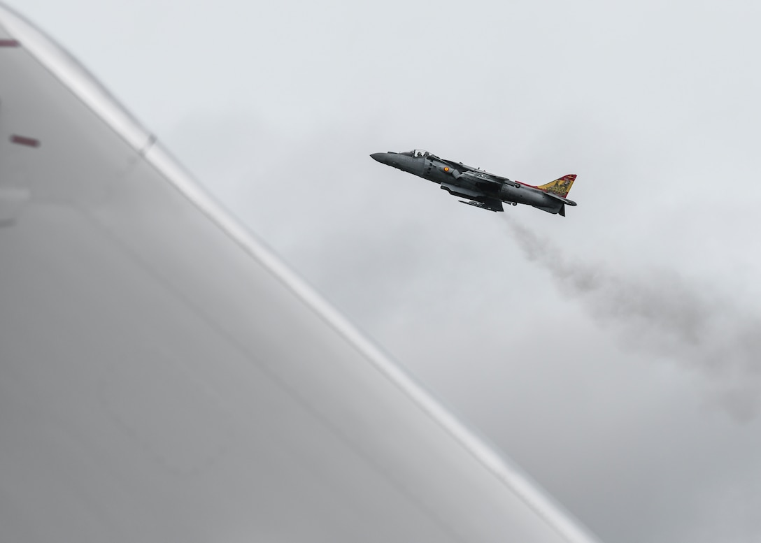 A Spanish Navy AV-8B Harrier II accelerates past the audience during the 2019 Royal International Air Tattoo at RAF Fairford, England, July 19, 2019. This year's RIAT commemorated the 70th anniversary of NATO and highlighted the United States' enduring commitment to its European allies. (U.S. Air Force photo by Airman 1st Class Jennifer Zima)