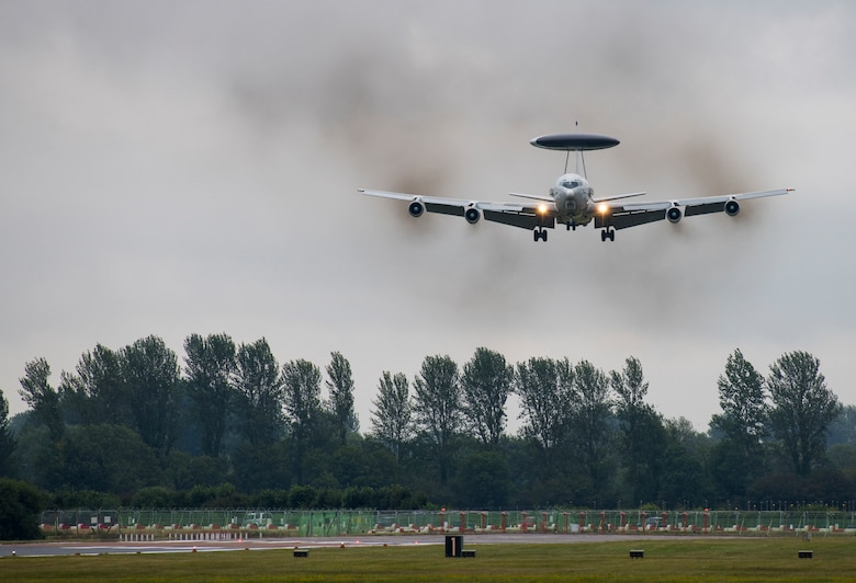 A NATO Airborne Early Warning and Control Force Boeing E-3A Sentry from Geilenkirchen, Germany, approaches for a landing during the 2019 Royal International Air Tattoo at RAF Fairford, England, July 19, 2019. This year, RIAT commemorated the 70th anniversary of NATO and highlighted the United States' enduring commitment to its European allies. (U.S. Air Force photo by Airman 1st Class Jennifer Zima)
