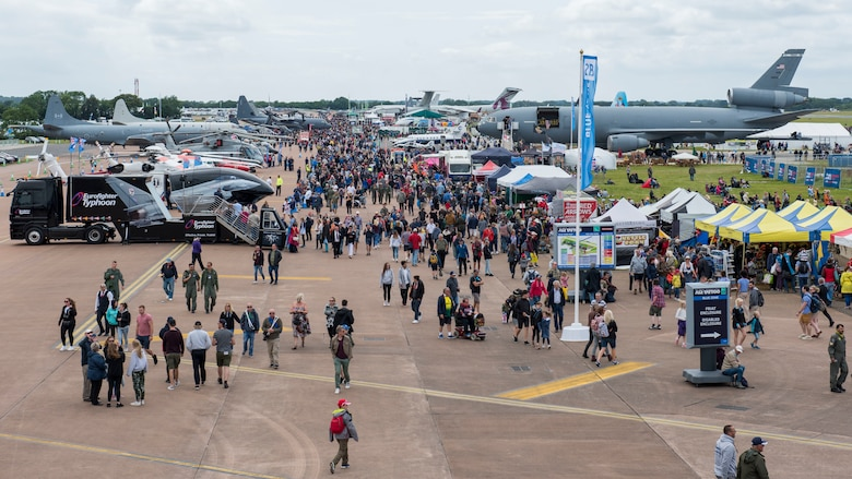 Thousands of attendees view static displays of NATO aircraft during the 2019 Royal International Air Tattoo at RAF Fairford, England, July 20, 2019. This year's RIAT commemorated the 70th Anniversary of NATO and highlighted the United State's enduring commitment to its European allies. (U.S. Air Force photo by Airman 1st Class Jennifer Zima)