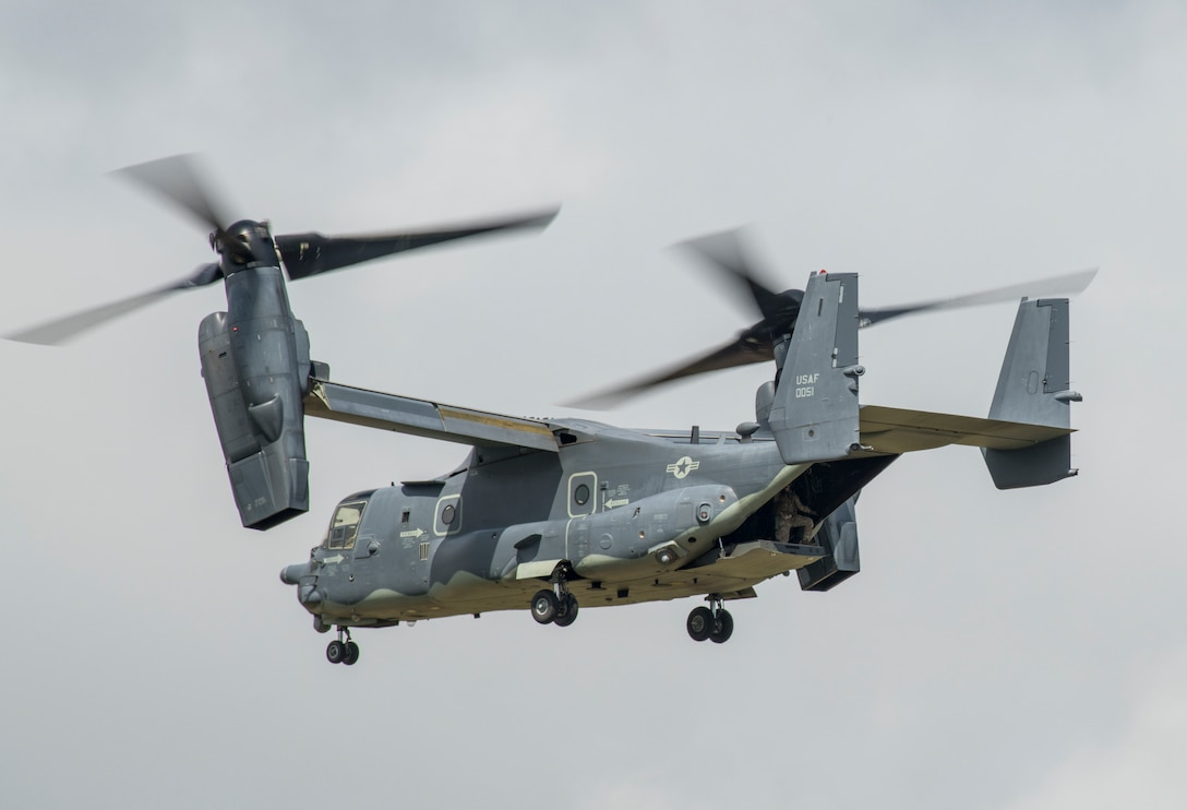 A U.S. Air Force CV-22 Osprey flies during the 2019 Royal International Air Tattoo at RAF Fairford, England, July 20, 2019. This year's RIAT commemorated the 70th anniversary of NATO and highlighted the United States' enduring commitment to its European allies. (U.S. Air Force photo by Airman 1st Class Jennifer Zima)