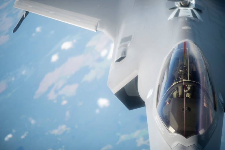 A U.S. Air Force F-35A Lightning II assigned to the 388th Fighter Wing, Hill Air Force Base, Utah, receives fuel from a KC-135 Stratotanker assigned to the 351st Air Refueling Squadron, RAF Mildenhall, England, during Operation Rapid Forge over Germany, July 23, 2019. Participation in multinational operations and operations like Rapid Forge enhances professional relationships and improves coordination between allies. (U.S. Air Force photo by Tech. Sgt. Emerson Nuñez)