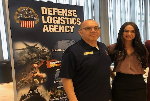 DLA Land and Maritime Intern Program Manager poses with Jessica Ruffing at the 2019 OSU Spring Career Fair.