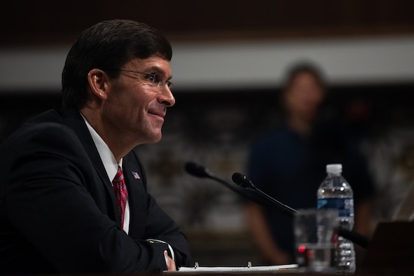 Then-Army Secretary Dr. Mark T. Esper answers questions from members of the Senate Armed Services Committee during the confirmation hearing on his nomination to serve as secretary of defense July 16. Esper was confirmed as the 27th Secretary of Defense July 23.