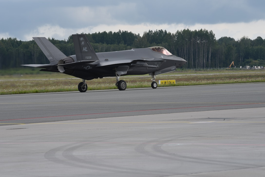 A U.S. Air Force F-35A Lightning II fighter jet deployed from the 388th and 419th Fighter Wings, Hill Air Force Base, Utah, taxis on a runway during Operation Rapid Forge at Lielvarde Air Base, Latvia, July, 23, 2019. This is the first time a U.S. Air Force F-35 Lightning II stealth fighter has landed in Latvia. Operation Rapid Forge is a U.S. Air Forces in Europe-led mission to enhance readiness and test the ability to function at locations other than the main air bases.