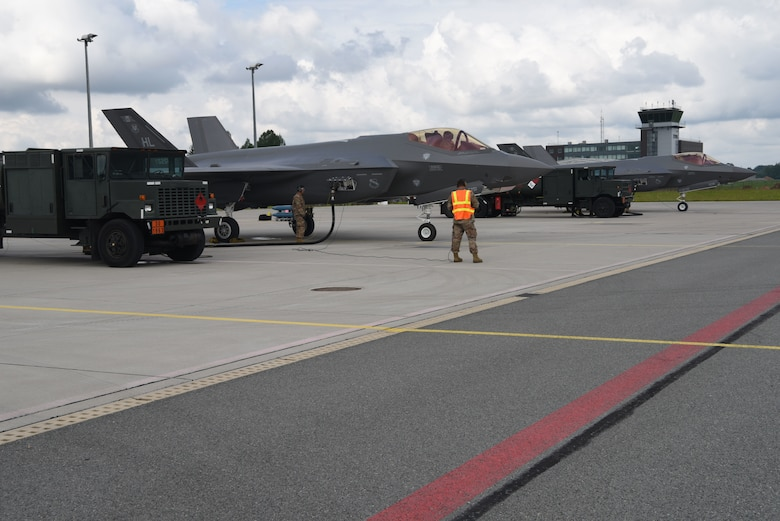 A U.S. Air Force F-35A Lightning II fighter jet deployed from the 388th and 419th Fighter Wings, Hill Air Force Base, Utah, conducts a hot pit refueling during Operation Rapid Forge at Lielvarde Air Base, Latvia, July, 23, 2019. This is the first time a U.S. Air Force F-35 Lightning II stealth fighter has landed in Latvia. Operation Rapid Forge is intended to enhance interoperability with NATO allies to improve combined operational capabilities.