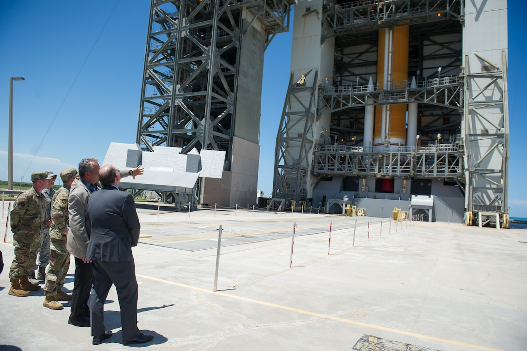 Acting Secretary of the Air Force Matthew Donovan is shown United Launch Alliance's Delta IV rocket on Space Launch Complex-37 on July 19, 2019, at Cape Canaveral Air Force Station, Fla. Donovan visited the 45th Space Wing at Patrick Air Force Base, Fla., to become more familiar with space launch operations and to celebrate the 50th anniversary of NASA's Apollo 11 mission. (U.S. Air Force photo by Jared Trimarchi)