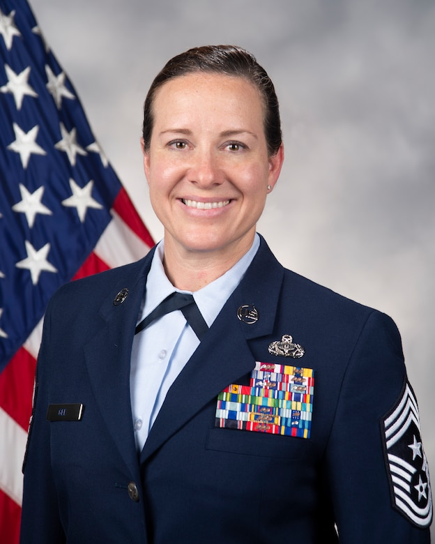 Official photo of Chief Master Sgt. Shae D. Gee