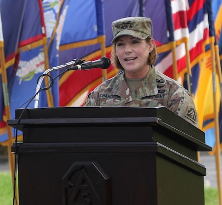 Lt. Gen. Laura J. Richardson, U.S. Army North Commanding General, speaks during the welcome ceremony for Maj. Gen. David P. Glaser, the new U.S. Army North Deputy Commanding General-Operations, during a ceremony at the Quadrangle at Joint Base San Antonio-Fort Sam Houston July 23.