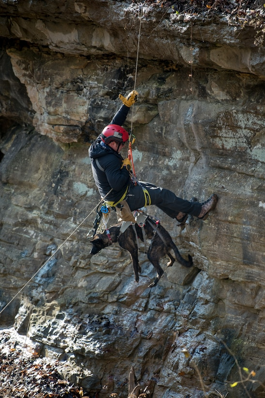 Tech. Sgt. Rudy Parsons, a pararescueman with the Kentucky Air National Guard's 123rd Special Tactics Squadron, and his search and rescue dog, Callie, rappel down a cliff in Louisville, Ky., Dec. 7, 2108, as part of Callie's familiarization training. Callie is currently the only search and rescue dog in the Department of Defense. (U.S. Air National Guard photo by Staff Sgt. Joshua Horton)