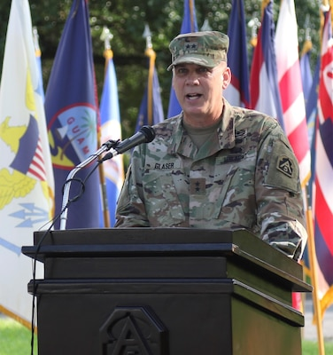 Maj. Gen. David P. Glaser, the new U.S. Army North Deputy Commanding General-Operations, speaks during his welcome ceremony at the Quadrangle at Joint Base San Antonio-Fort Sam Houston July 23.