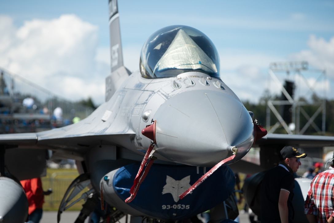 An F-16 Fighting Falcon from the 169th Fighter Squadron, South Carolina Air National Guard, is publicly displayed during the Feria Aeronáutica Internacional—Colombia 2019 (F-AIR) at José María Córdova International Airport in Rionegro, Colombia, July 14, 2019.