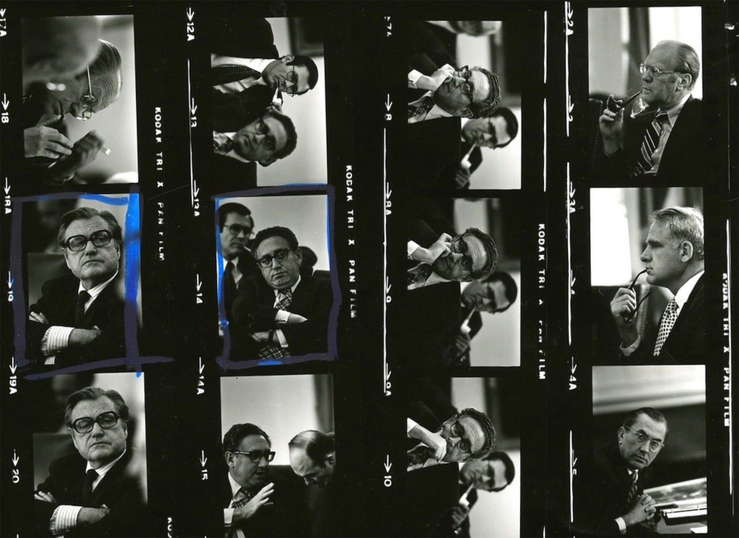 Section of negative contact sheet for White House Photography Office roll A452 includes President Gerald Ford, Chief of Staff Donald H. Rumsfeld, Secretary of State Henry Kissinger, Central Intelligence Agency Director William Colby, Secretary of Defense James R. Schlesinger, and Vice President William Rockefeller, on day 3 of Mayaguez discussions, May 1975 (David Kennerly/Gerald R. Ford Presidential Library)