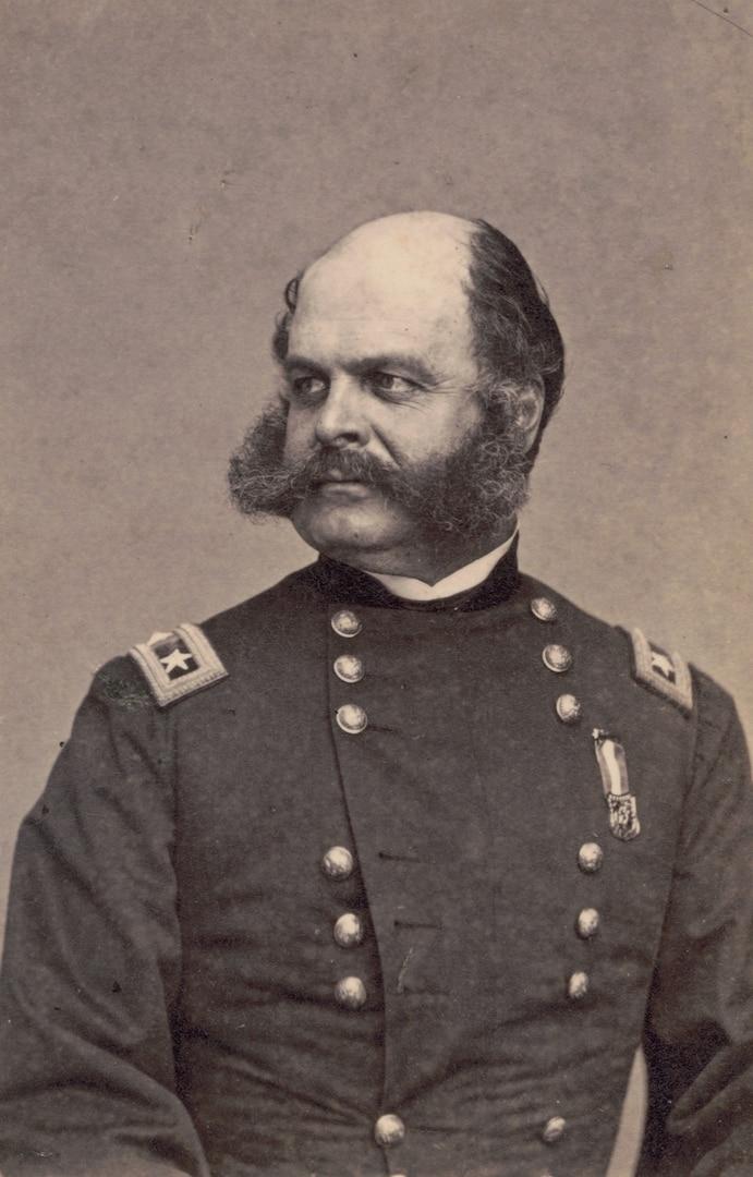 Major General Ambrose Burnside, 1st Rhode Island Infantry Regiment and General Staff U.S. Volunteers Infantry Regiment, in uniform, 1863 (Library of Congress/Mathew Brady)