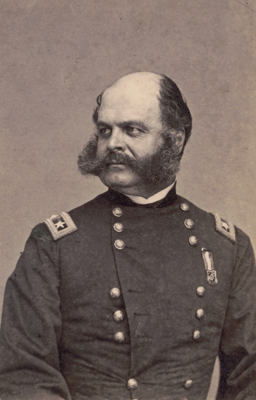 Major General Ambrose Burnside, 1st Rhode Island Infantry Regiment and General Staff U.S. Volunteers Infantry Regiment, in uniform, 1863 (Library of Congress/Mathew Brady)