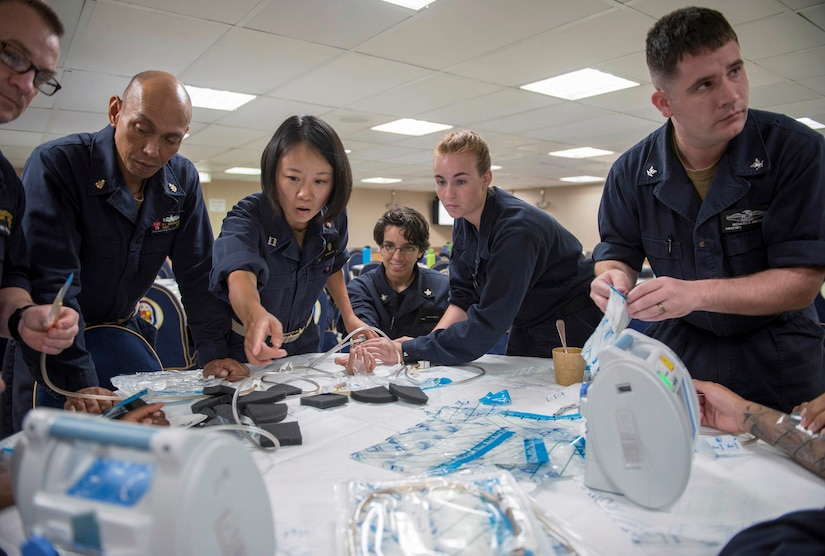 Sailors learn about negative pressure wound therapy during skin and wound care course aboard USNS Mercy, in support of upcoming Pacific Partnership