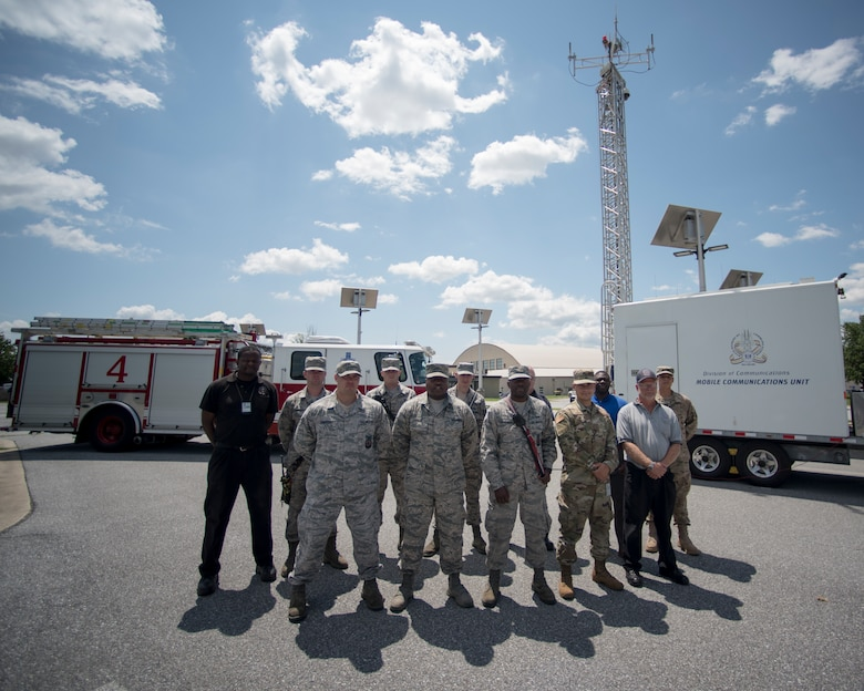 Members from the 166th Communications Flight and Delaware Department of Homeland Security's Division of Communications a participated in a Site on Wheels deployment exercise, July 24, 2019 at New Castle Air National Guard Base, Del. The Site on Wheels deployment is a collaborative effort between the 166th CF and the DoC to give situational awareness of the civilian assets available for strategic and rapid expansion of radio frequency communications in the event of a domestic emergency or disaster. (U.S. Air National Guard Photo by Staff Sgt. Katherine Miller)